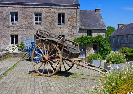 medieval village of Locronan and old wains , Brittany in France 報道画像