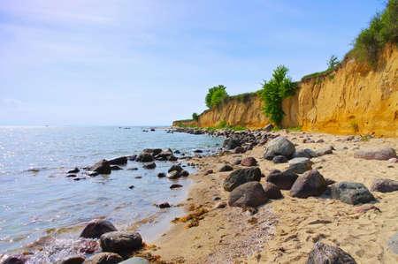 the cliff coast on the island of Ruegen near Klein Zicker 報道画像