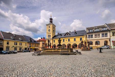 Starkenbach market square in Giant  Mountains in Bohemia 報道画像