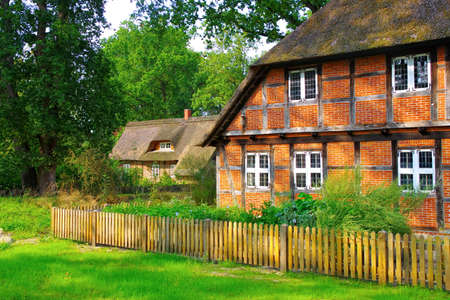 Half-timbered house in Wilsede in the Luneburg Heath 報道画像