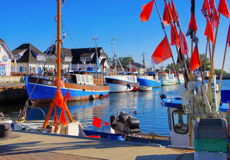 the harbour of Vitt on the island of Hiddensee in northern Germany 報道画像
