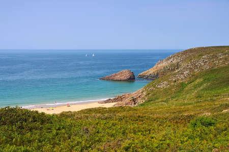 La fosse beach in Brittany, France 報道画像