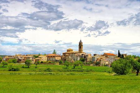 the medieval village  Adahuesca in Aragon, Spain