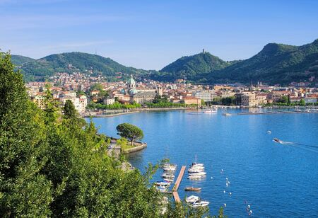 view of the town of Como, Lake Como in Lombardy in Italy