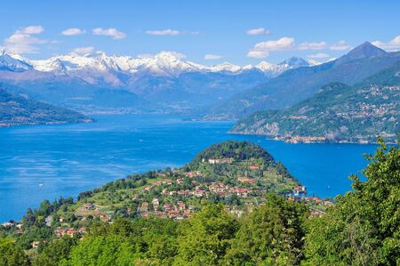 view of the village of Bellagio on Lake Como, Lombardy in Italy 写真素材