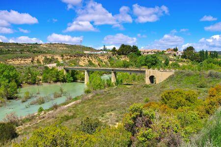 the village Puendeluna in Aragon, Spain 写真素材