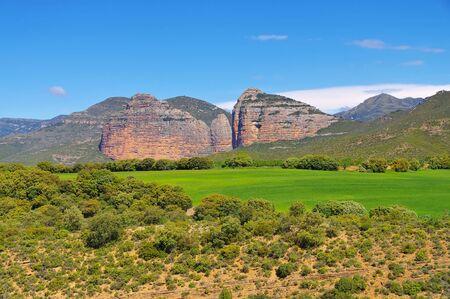 El Salto de Roldan is a rock formation made up of two mountains, Pena San Miguel and Pena Aman, Sierra de Guara in Aragon, Spain