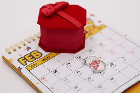 Ring box with calendar 스톡 콘텐츠 - 109410360