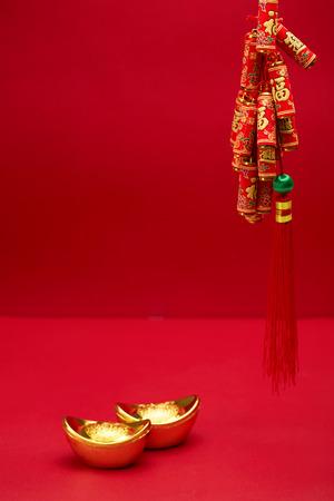 Spring Festival material, ingot, firecracker