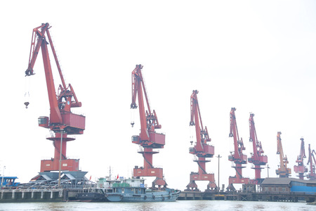 Port of gantry crane Stockfoto
