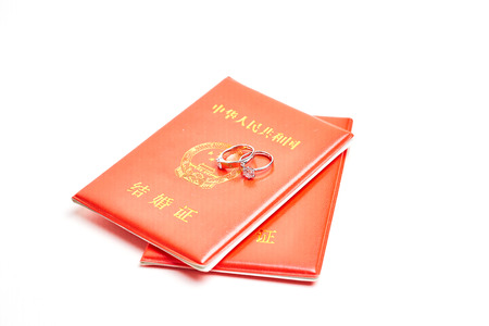 Ring on marriage certificate 版權商用圖片