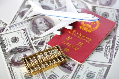 Passport, dollar, airplane, tourist material