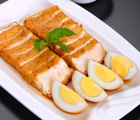 Brine tofu with hard boiled egg Stock Photo