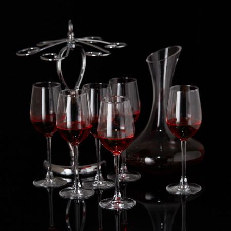 Glass wine glass decanter Stock Photo