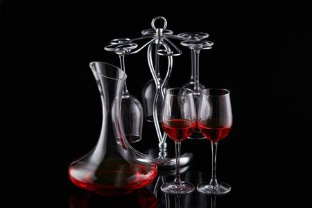 Glass wine glass decanter Foto de archivo