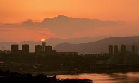 The Yangtze River sunset city border town Stock Photo