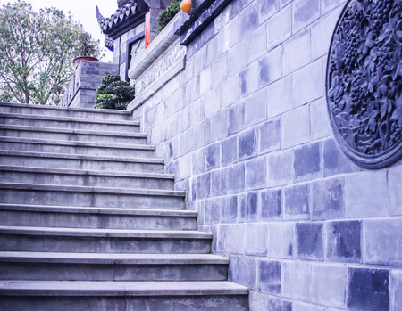 upstairs: Chinese ancient buildings, stairs upstairs Editorial