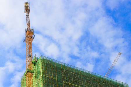 Tall buildings under construction Stock Photo