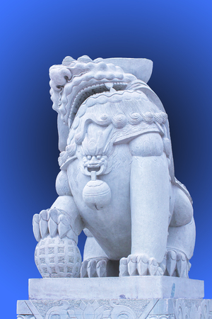 implications: Chinese traditional stone lion Stock Photo