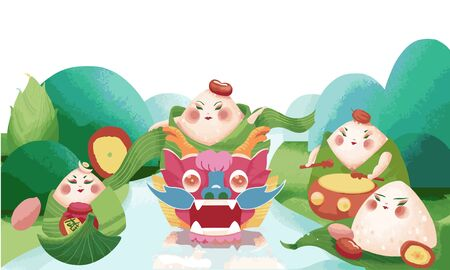 Cartoon noise mechanism dragon boat festival theme, illustration of a group of zongzi dancing dragon boat dance party