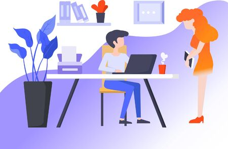 Flat business office reporting work illustration to the leader