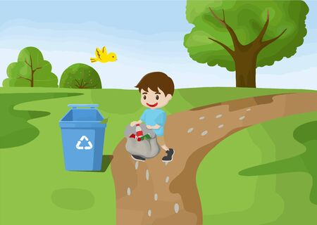Illustration of small fresh children picking up trash outdoors Ilustrace
