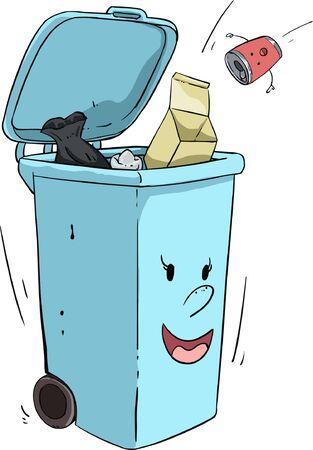 Stick figure trash sorting blue trash can