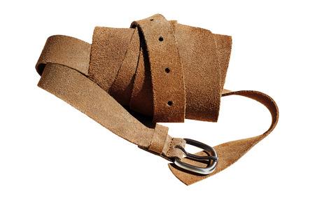 suede belt: Primer punto de vista de la cinta enrollada gamuza sobre un fondo blanco