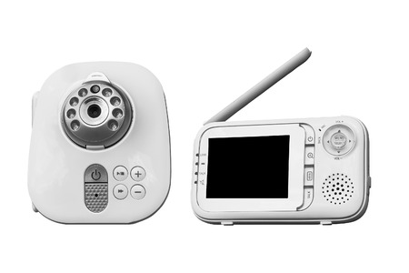 The clouse-up baby monitor for security of the baby on a white background