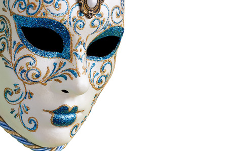 Isolated Blue Venetian mask on a white background photo