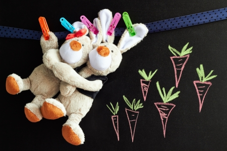 toy rabbits hang on a rope, chalkboard with carrots  behind  photo