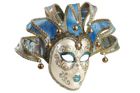 masquerade mask: Isolated Blue Venetian mask on a white  Stock Photo