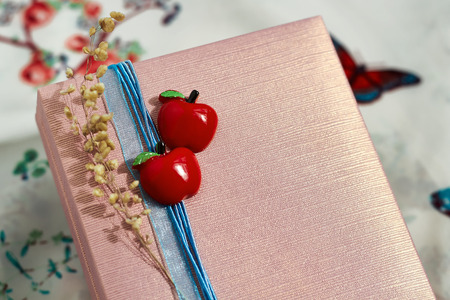 decorated present box  with a red apples and a blue ribbon photo