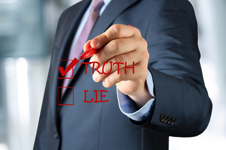 falsehood: Businesswoman  making  ones choice between truth or lie