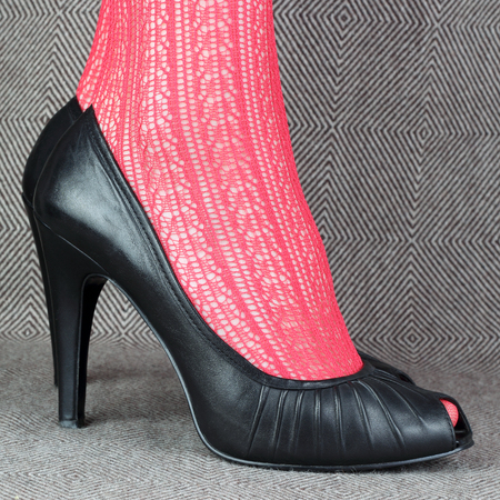 womens black leather shoes with red delicate tights