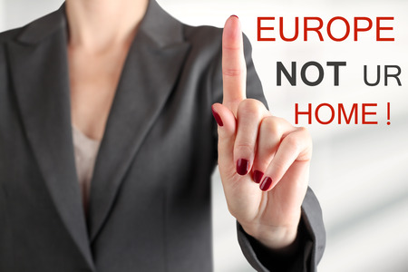 immigrant: Woman warning. Stop refugees. Europe is not your home