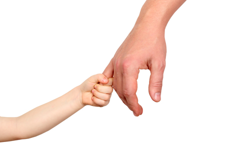 a father  holds the hand of a small child on a white  background