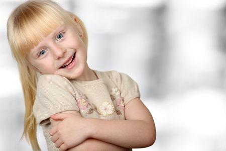 3 5 years: Cute blonde   smiling girl Stock Photo
