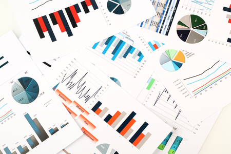 colorful graphs, charts, marketing research and business annual report background, management project, budget planning, financial and education concepts