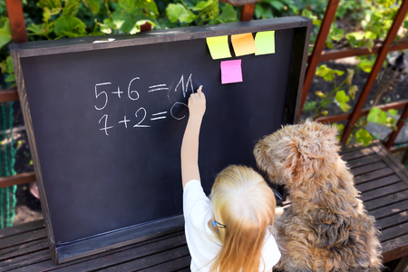 cute little girl  with dog writing answer to the exerciseusing chalk on blackboard