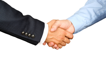 Successful business people shaking hands  on a white background
