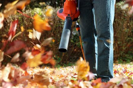 jardineros: Hombre que trabaja con soplador de hojas: las hojas se están arremolinaba arriba y hacia abajo en un día soleado