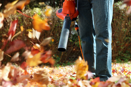 Man working with  leaf blower: the leaves are being swirled up and down on a sunny day Banco de Imagens