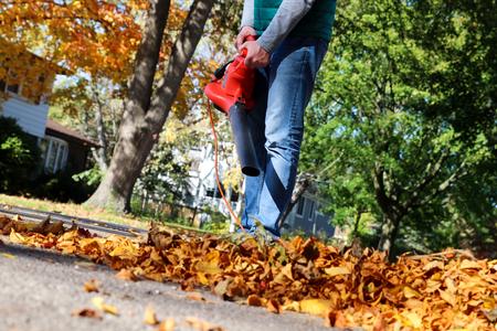 motorizado: Hombre que trabaja con soplador de hojas: las hojas se están arremolinaba arriba y hacia abajo en un día soleado