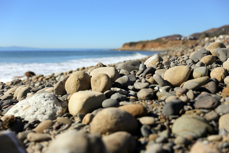 beautiful beach with stones. Sea or ocean