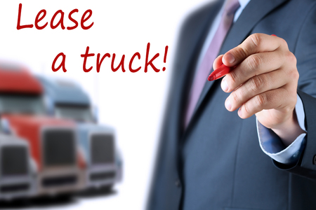 Businessman leasing a new truck to driver  company