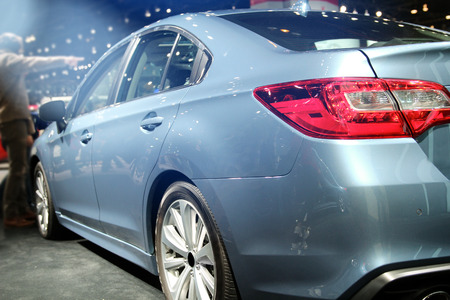 Modern blue  car. auto show