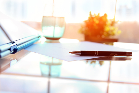 Business contract with pen is ready to sign Stock Photo