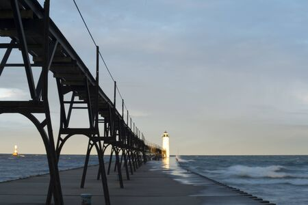 manistee lighthouse in the early morning