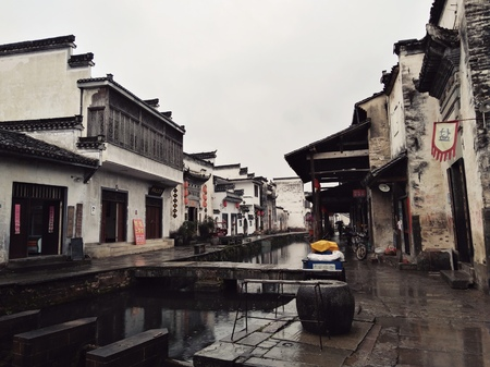Shexian Tang  ancient town traditional building landscape view 新聞圖片
